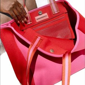 Summersalt The Perfect Beach Tote  Pink and Red